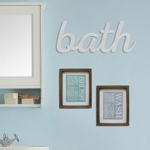 Bath 🛀 White Wooden Wall Sign Plaque Kohl's Decor
